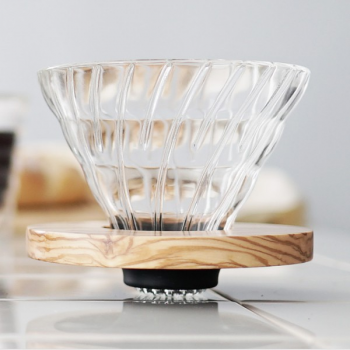 Hario V60 Glass Coffee Dripper Olive Wood