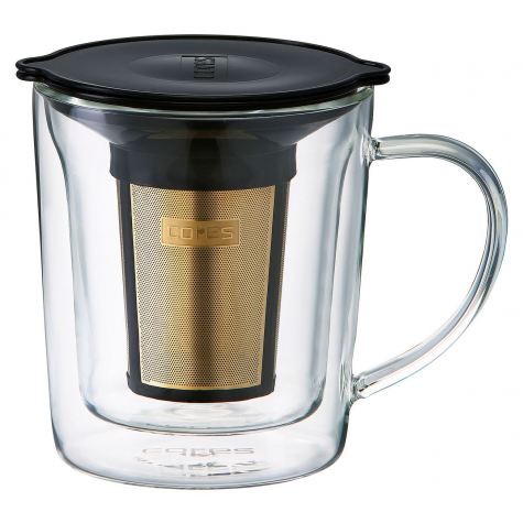 Gold Coffee filter with glass mug